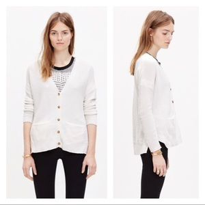 Madewell Textured Landscape Cardigan in White